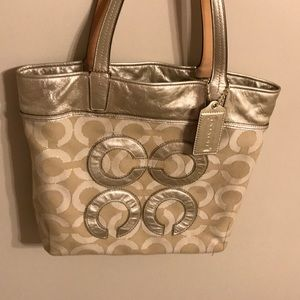 Coach Audrey op art lurex tote cream
